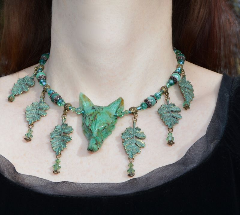 Cernunnos wolf necklace in chrysocolla leaf pendants and swarovski cernunnos wolf necklace in chrysocolla leaf pendants and swarovski crystals mint green witch of the woods elven jewellery herisson rose aloadofball