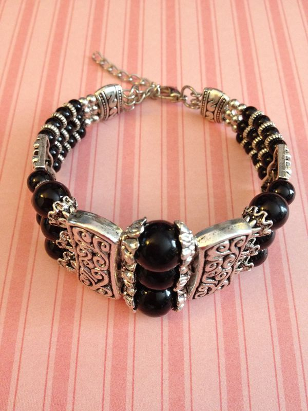 Black Onyx Gemstone Tibetan Silver Bracelet Bangle - product images  of