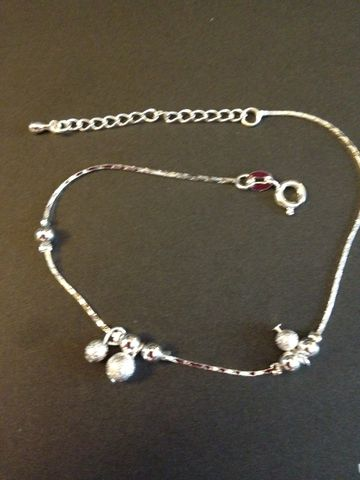9.5,Sterling,Silver,Anklet,With,Beads,and,Dangling,Sterling Silver Anklet, Sterling Silver Jewelry, Silver Anklet, Sterling Silver, Anklet, Jewelry