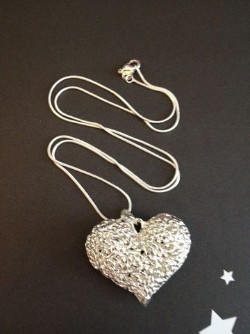 .925,Silver,Plated,Heart,Pendant,on,Sterling,Snake,Chain,Sterling Silver Heart Pendant, Sterling Silver Chain, Heart Necklace, Silver Heart Necklace, Necklace, Gift, Valentine's Day Gift, Christmas Gift