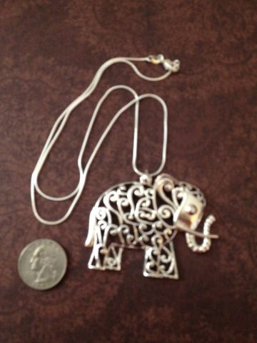 Elephant,Pendant,and,Snake,Chain,.925,Silverplated, Pendant, Elephant Pendant, Elephant Necklace, Elephant Jewelry, Silver Jewelry