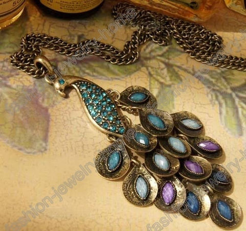 Fashion,Retro,Bronze,Peacock,Necklace,Pendant,Aqua,Crystal,peacock necklace