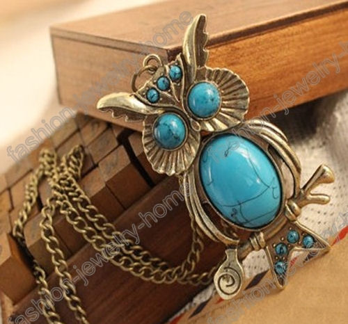 Fashion Retro Style Bronze Imitation Turquoise Owl Necklace - product images