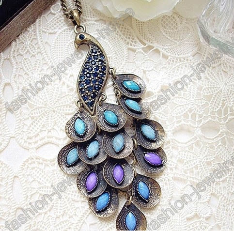 Fashion Retro Bronze Peacock Necklace Pendant Blue Crystal - product images
