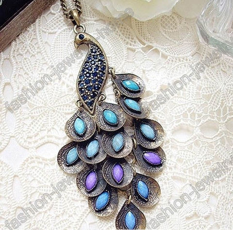 Fashion,Retro,Bronze,Peacock,Necklace,Pendant,Blue,Crystal,peacock necklace