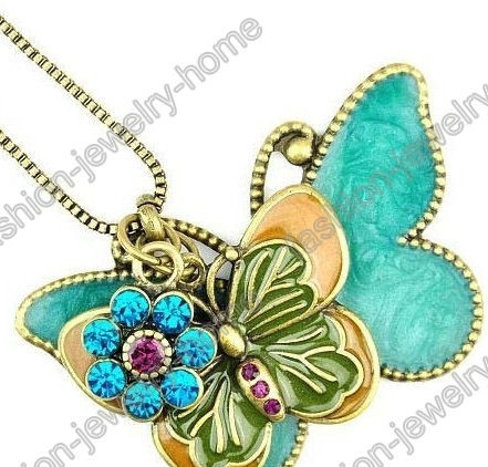 Fashion,Retro,Bronze,Crystal,Flying,Butterfly,Necklace,Pendant,Butterfly necklace, butterfly pendant, butterfly, butterfly jewelry