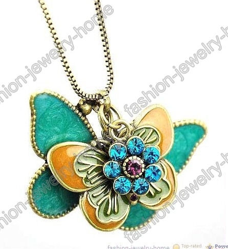 Fashion Retro Bronze Crystal Flying Butterfly Necklace Pendant - product images  of