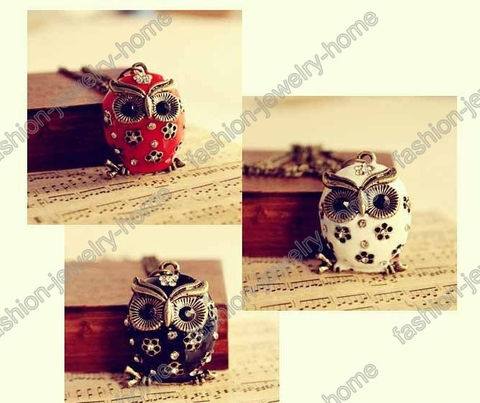 Fashion,Retro,Style,Bronze,Owl,Pendant,Red,owl pendant, owl necklace, owl jewelry, owl collections, owl, gift, gift jewelry, necklace, pendant