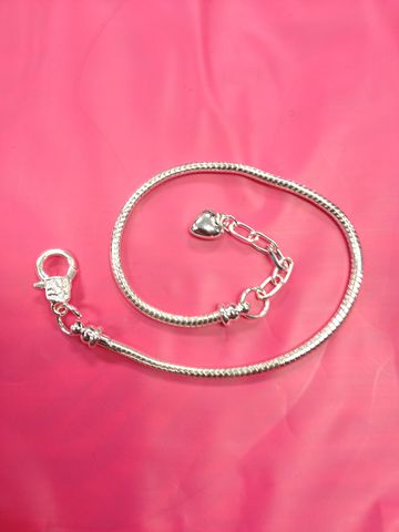 European,Bracelet,.925,Silver,Plated,With,Chain,and,dangling,Heart,Euro Bracelet, Pandora, Troll Beads, Love Links, Biagi, Zoppini, Pugster, Luv Links, European Bead, Euro Bead, Euro Beads