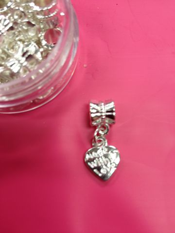 Euro,Bead,Heart,Dangle,Charm,Made,With,Love,Silver,Plated,Fits,Bracelet,Euro Bracelet, Pandora, Troll Beads, Love Links, Biagi, Zoppini, Persona, Pugster, Luv Links, European Bead, Euro Bead, Euro Beads