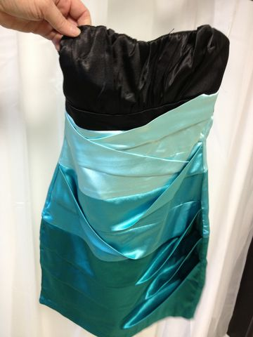 Strapless,Black,Dress,with,Fabulous,Teal,Blue,Fade,Party Dress, Strapless Dress, Blue Dress, Black Dress, Cocktail Dress, Fade Dress, Tight Dress, Prom Dress, Homecoming Dress