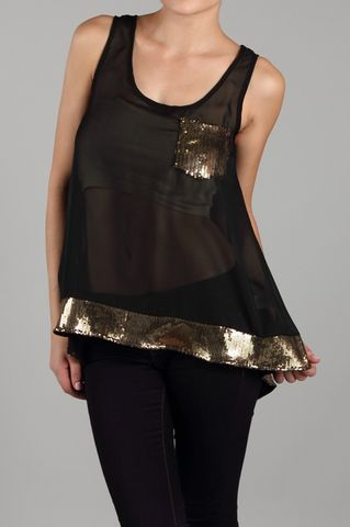 Black,Hi-Low,Tank,Top,with,Gold,Sequin,Trim,and,Pocket,Hi-Low Top, Hi-Low Tank Top, Black Tank Top, Gold Tank Top, Sequins