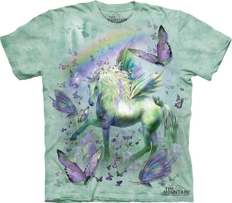 The,Mountain,Unicorn,and,Butterflies,Eco-Friendly,T-Shirt,The Mountain T-Shirt, Unicorn T-shirt, Butterfly T-shirt,  Eco-Friendly T-Shirt, eco-friendly, Light Green T-Shirt