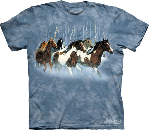 The,Mountain,Winter,Run,Eco-Friendly,T-Shirt,(Regular,and,Plus,Sizes),The Mountain T-Shirt, All Natural T-Shirt, Eco-Friendly T-Shirt, Winter T-Shirt, Horse T-Shirt, Blue T-Shirt