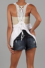 White,Crochet,Vest,Tie Close, Crochet, White Vest, Knit Vest