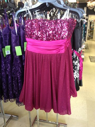 Strapless,Fuchsia,Party,Dress,with,Confetti,Sequined,Top,Sweet 16, dress, party dress, homecoming dress, homecoming, empire waist, date night dress, strapless dress