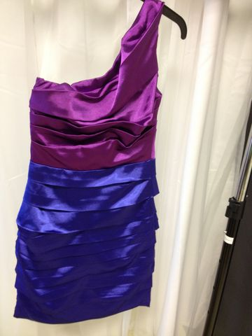 One,Shoulder,Natural,Waist,Dress,With,Purple,Boddess,and,Blue,Skirt,dress, one shoulder dress, one shoulder, dress, formal wear, formal dress, homecoming dress, natural waist dress