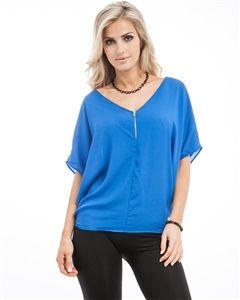 Royal,Blue,Short,Sleeve,,Zipper,Front,,V-Neck,,Flowing,Top,Royal Blue V-Neck, Royal Blue Short Sleeve, Zipper Front, V-Neck, Flowing Top, Royal Blue Flowing Top, Royal Blue Flowy Top, Royal Blue Zipper Front Top, Short Sleeve Royal Blue Top with Zipper