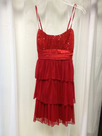 Flowy,,Sequined,Empire,Waist,with,an,Elegant,Red,Color, Red Dress, Layered Dress, Sequined Dress, Homecoming Dress, Formal Dress