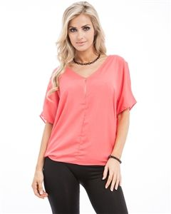 Coral,Short,Sleeve,,Zipper,Front,,V-Neck,,Flowing,Top,Coral V-Neck, Coral Short Sleeve, Zipper Front, V-Neck, Flowing Top, Royal Blue Flowing Top, Coral Flowy Top, Coral Zipper Front Top, Short Sleeve Coral Top with Zipper, top, summer top, spring top,  chiffon top