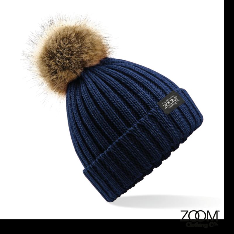 3f7416b36ca Fur Pom Pom Hat Navy - Zoom Clothing Company