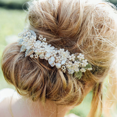 Tiffany,Bridal,Comb,Weddings,Accessories,bridal_combs,bridal_headdress,floral_headdress,ivory_headdress,pearl_headdress,luxury_bridal,luxury_accessories,floral_comb,ivory_bridal_comb,beaded_headdress,pearl_combs,bridal_gift,bridesmaids_combs,keishi pearls,silver leaf,swarovs