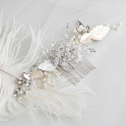 Mia,Bridal,Comb,mia bridal comb, bridal comb, leaf hair comb, leaf style bridal comb, wedding accessory, wedding comb, bridesmaid comb, silver comb