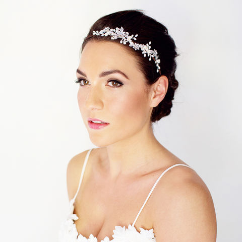 Stella,Silver,Pearl,&,Crystal,Headdress,stella crystal and pearl headdress, bridal headdress, crystal headdress, floral headdress