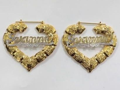 Heart Bamboo Name Hoop Earrings - Jurnees Path Craft N Company