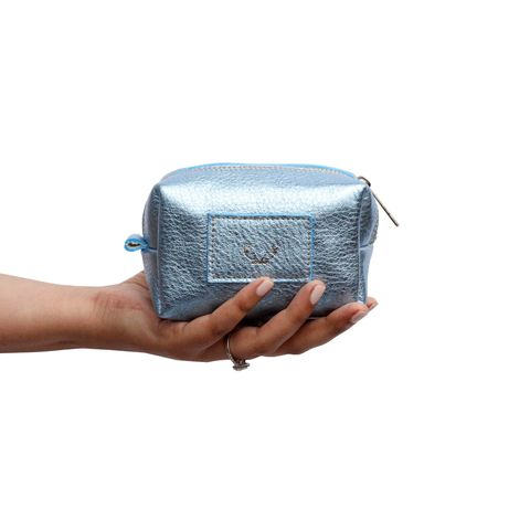 *NEW*,Metallic,Ice,Blue,Petite,Millie,Cosmetic,Bag,millie, make up bag, cosmetic bag, black, petite