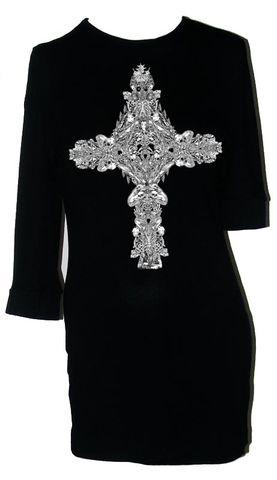 Black Gothic Cross Jersey Tunic Dress by Belle Sauvage - product images  of
