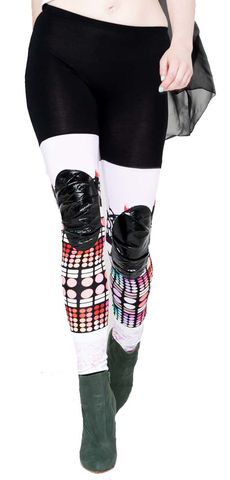 Make,up,print,leggings,with,leather,patch,printed leggings, leather leggings, leather pants