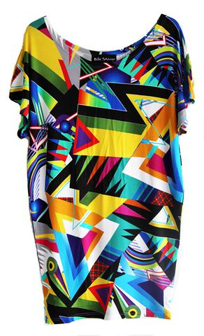 Retro,Geometric,Shapes,Jersey,tunic,by,Belle,Sauvage,Belle Sauvage, tunic, digital print, Silk Dress, Fashion, London, Designer dress, London Fashion week, Christian Neuman, Virginia Ferreira, Fall Winter, Sale