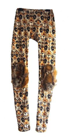 Leopard,Leggings,With,Fur,Patches