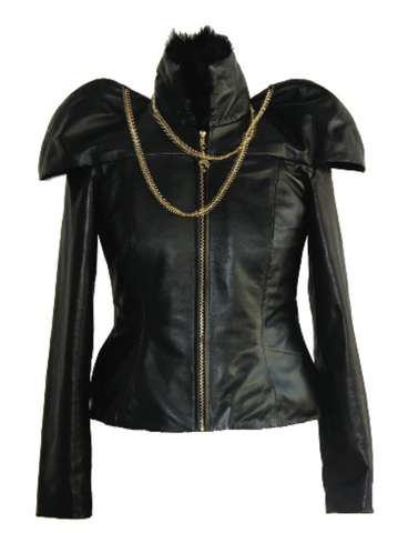Skull,&,Fishbone,Chains,Leather,Jacket