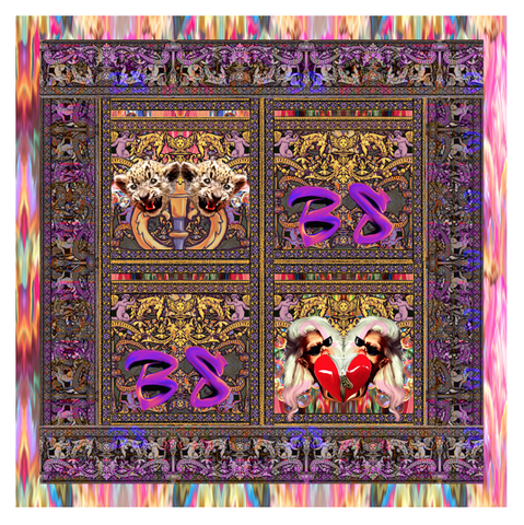 Scarf,Carre,1m,by,Leopard by Belle Sauvage Spring Summer 2013 Scarf. Ready to wear Fashion. Belle Sauvage London.