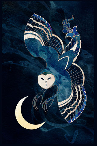 Over,an,Ancient,Moon,griffin, owl, indigo