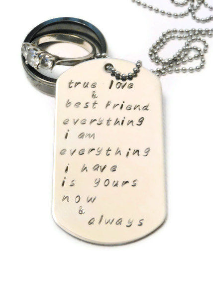 Personalised Wedding Vow Gifts : Personalized Wedding Vow Custom Necklace for Men, Gift from Bride to ...
