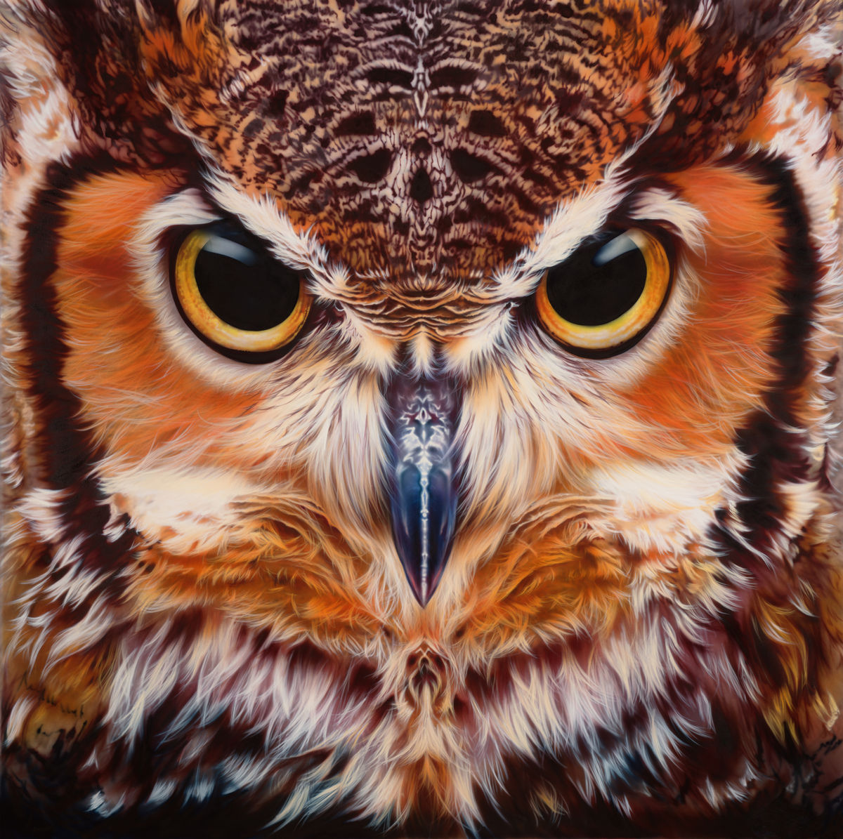 bubo virginianus great horned owl print limited edition