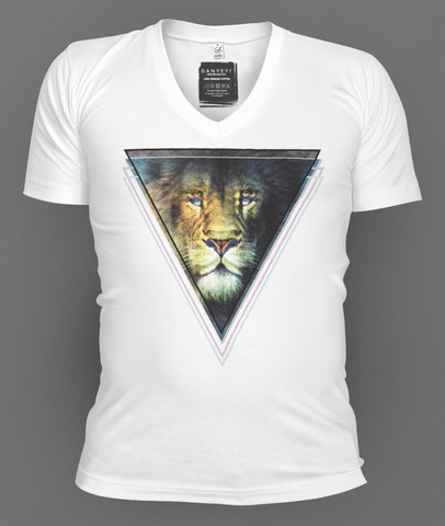 Lion,Vision,deep v-neck, deep v-neck graphic t-shirts, mens graphic t-shirt, graphic t-shirts, tees, slim fit, mens, danyeyi, organic, graphic tees, uk,  wearable art,  independent label