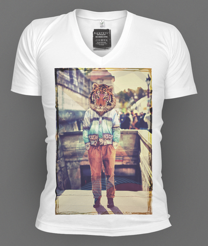 Mr,Tiger,deep v-neck, deep v-neck graphic t-shirts, mens graphic t-shirt, graphic t-shirts, tees, slim fit, mens, danyeyi, organic, graphic tees, uk,  wearable art,  independent label