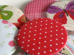 Polka,Dot,Fabric,Compact,Mirror,Favour,compact mirror favours, wedding favours, shabby chic wedding, vintage wedding