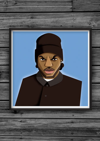 HipHopHead,32,illustration, giclee, dale, edwin, murray, print, buy, limited, edition, art, illustrator, graphic artist, digital, wall art, ice cube, amerikkkas, most, wanted