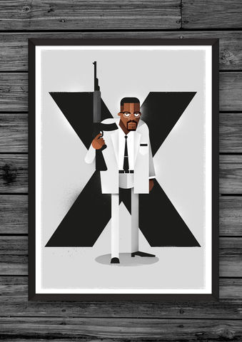 X,(Limited,edition),illustration, giclee, dale, edwin, murray, print, buy, limited, edition, art, illustrator, graphic artist, spike lee, digital, wall art, do the right thing