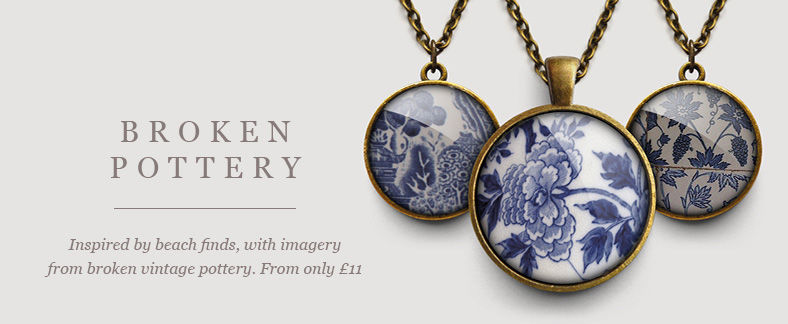 Beautiful handmade jewellery with broken beach pottery images by Ruby Spirit Designs