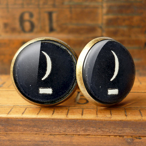 Crescent,Moon,Typewriter,Key,Cufflinks,(DJ10),jewellery, jewelry, handmade, brass, cufflinks, vintage, glass, cabochon, steampunk, victorian, typewriter