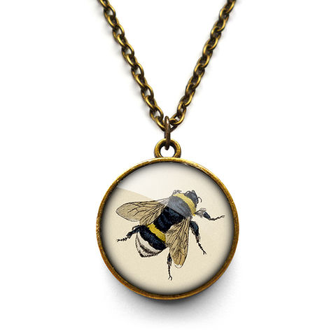 Vintage,Bee,Necklace,(ER04),jewellery, jewelry, handmade, brass, necklace, vintage, bee, glass, cabochon, steampunk, victorian