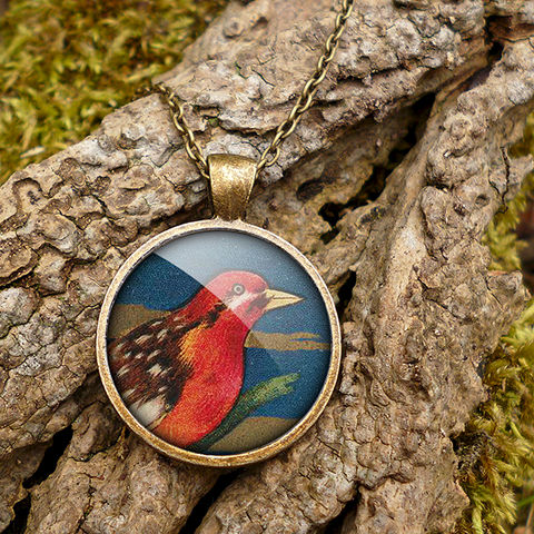 Crimson,Bird,Large,Necklace,(TB01),jewellery, jewelry, handmade, brass, necklace, vintage, bird, glass, cabochon, steampunk, victorian