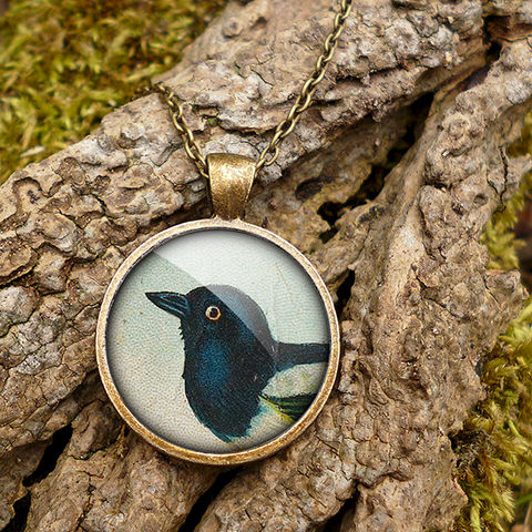 Magpie,Large,Necklace,(TB08),jewellery, jewelry, handmade, brass, necklace, vintage, bird, magpie, glass, cabochon, steampunk, victorian