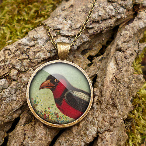 Disapproving,Bird,Large,Necklace,(TB09),jewellery, jewelry, handmade, brass, necklace, vintage, bird, glass, cabochon, steampunk, victorian